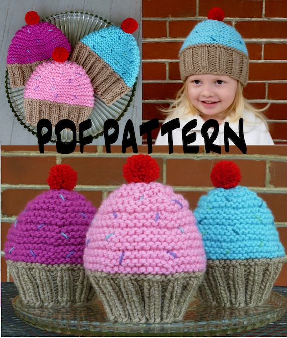 Instant Download Cupcake Hat Knitting Patternknit Cupcake Hat Etsy
