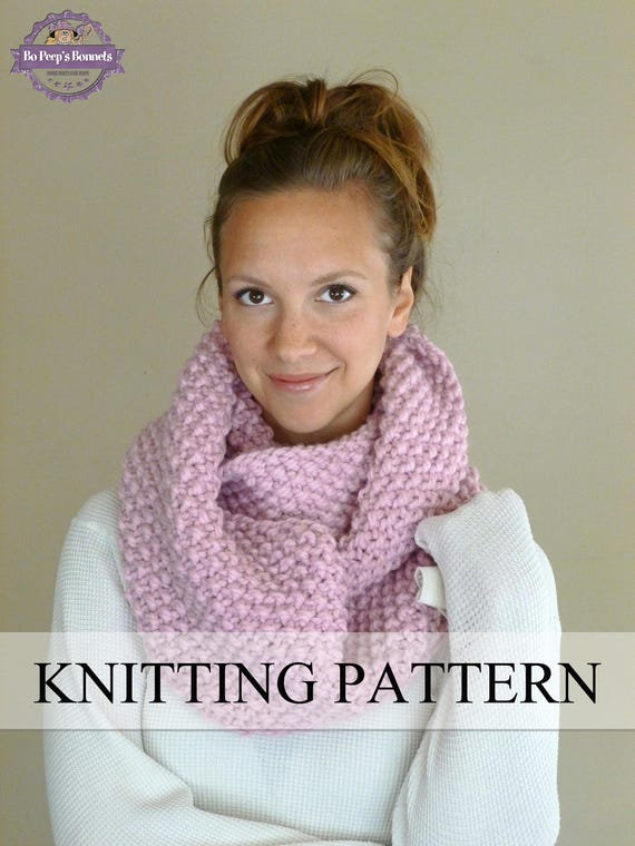 Knitting Pattern Knit Cowl Pattern Knit Infinity Scarf Etsy