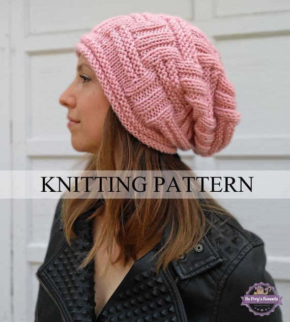 Slouchy Beanie Knitting Pattern Slouchy Hat Pattern Easy Etsy