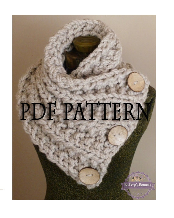 Knitting Pattern The Lancaster Scarf Chunky Button Neckwarmer