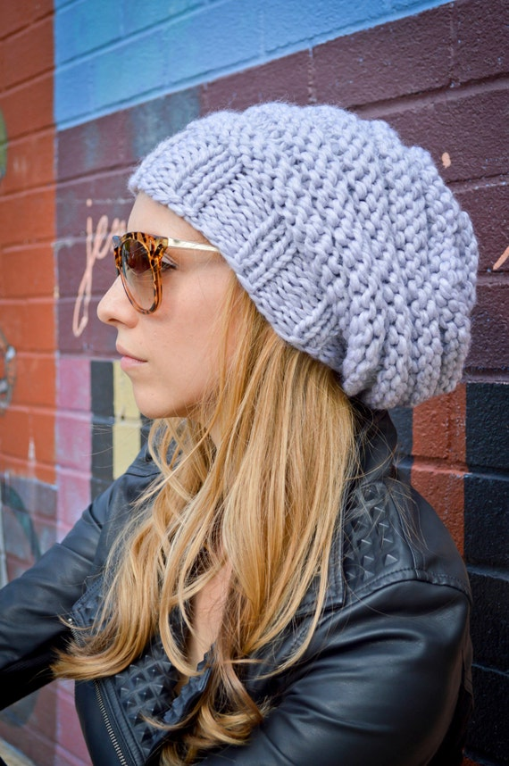 c07443abaa7 Slouch Beanie CHOOSE COLOR Women s Hand Knit Slouchy Hat