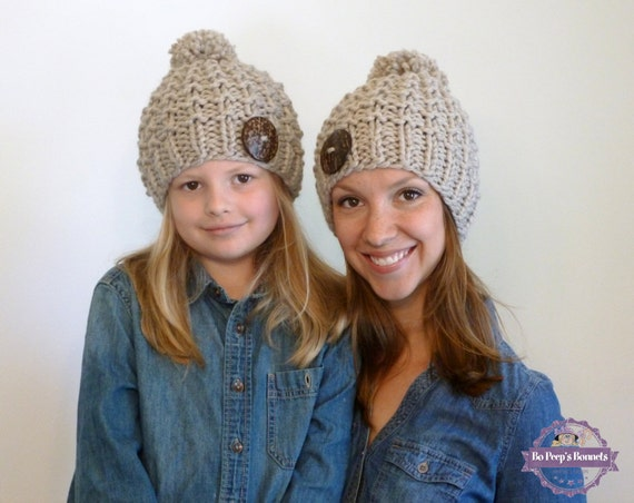 Mommy and Me Beanies Knit Toddler Hat Knitted Kids Hat  68a6d8f9571