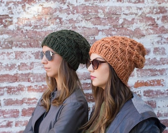 Slouchy Beanie, Knitted Slouch Hat, Chunky Winter Hat, Hipster Beanie, Knit Beanie, Women Men Slouch Hat, Fall Winter Accessories