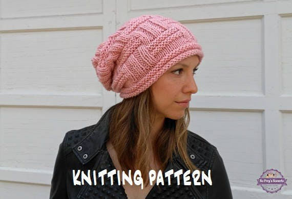 Slouchy Beanie Knitting Pattern Slouchy Hat Pattern Easy Etsy
