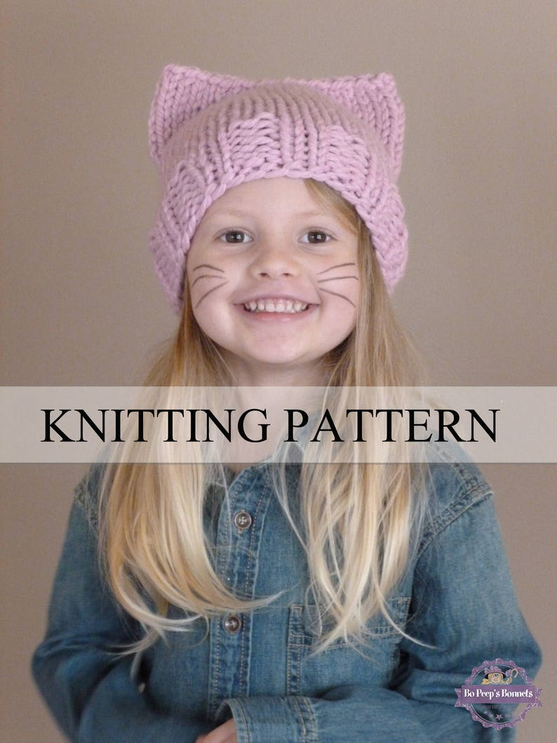 89042526bea Cat Hat KNITTING PATTERN Cat Beanie Knit Pattern Cat Ears