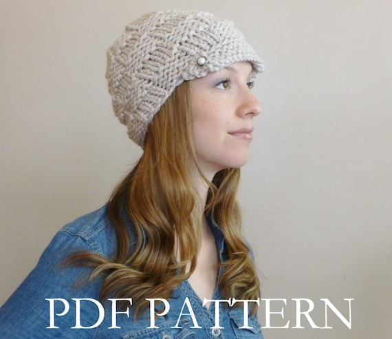 Instant Download Knit Hat Pattern Womens Knit Newsboy Etsy