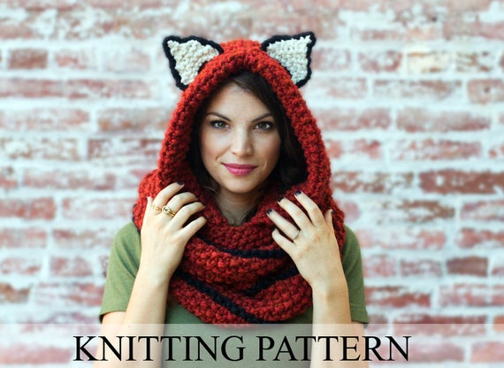 Knitting Pattern Fox Cowl Hooded Scarf Knitting Pattern Knit Etsy
