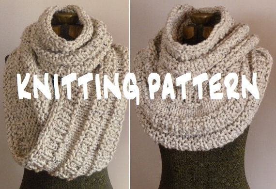 Knitting Pattern Chunky Infinity Scarf Cowl The Neil Etsy