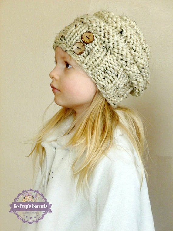 Hand Knit Toddler Slouchy Hat YOUR COLOR CHOICE with 2 Coconut  1b5d1eefa30