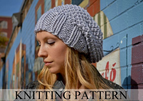 Slouchy Beanie Knitting Pattern Knit Hat Pattern Slouchy Hat Etsy