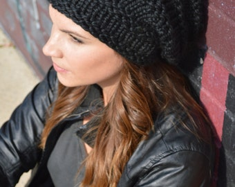 Slouchy Black Hat, Knit Black Slouch Beanie, Hand Knit Oversized Baggy Grunge Hat, Knitted Beret, Beanie, Winter Fashion Accessories