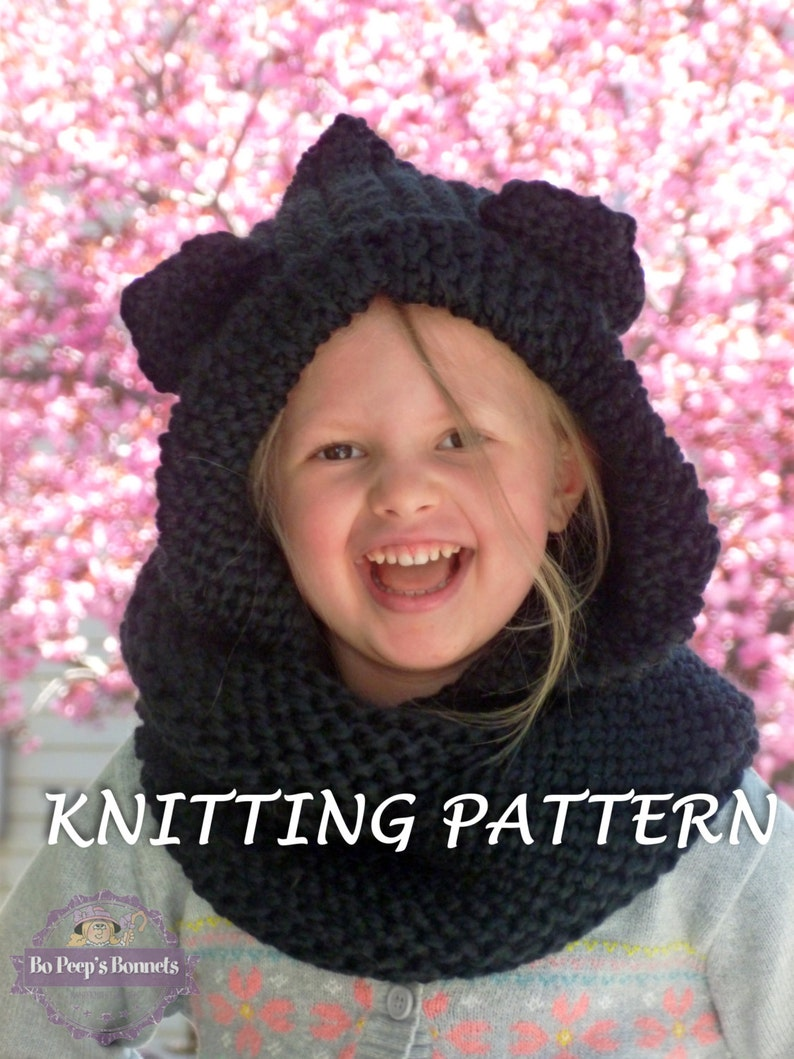 Knitting Pattern Hooded Cat Ears Cowl Scarf Cat Scarf Etsy