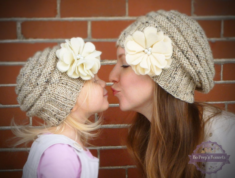 e9f1d8ead8642 Mommy and Me Matching Knit Oatmeal Hats with Ivory Felt Flower