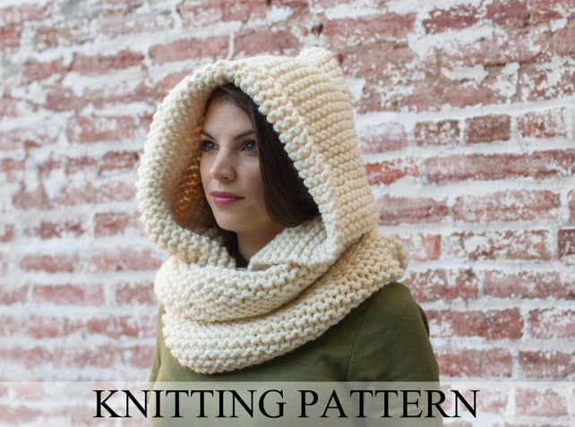 Hooded Cowl Knitting Pattern Hooded Infinity Scarf Knitting Etsy