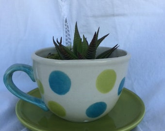 Whimisical Teacup Planter, Perfect for Fairy Garden or Succulents