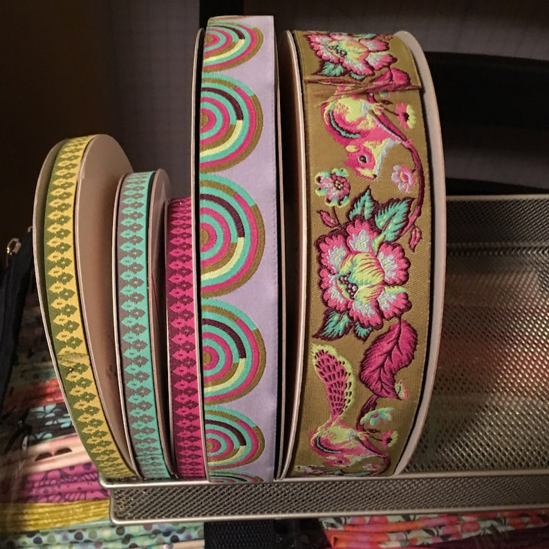 7//8 Inch Hypnotizer Tula Pink Chipper Ribbon  Renaissance Ribbons Woven Jacquard