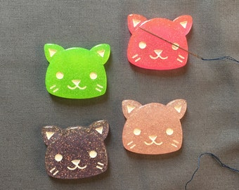 Glitter Cat Needle Minder, Needle Nanny, Magnetic Needle Holder for Hand Embroidery and Cross Stitch