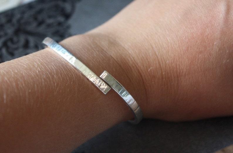 Chunky Textured Silver Bangle Cross Over Adjustable Design