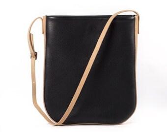 Black + Natural Leather Shoulder Bag