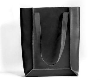 Black Leather Simple Geometric Tote