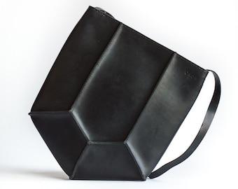 Geometric Leather Shoulder Bag
