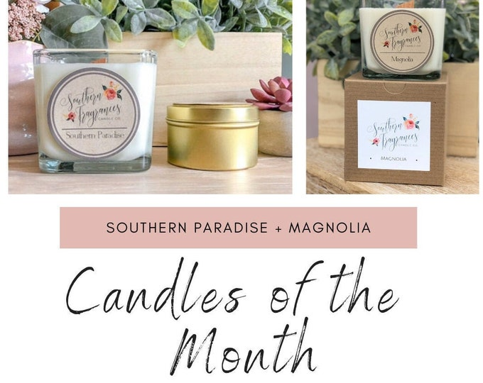 Featured listing image: Candles of the Month - May | Southern Paradise Soy Candle | Magnolia Soy Candle | 12oz Glass Jar Candle  | Wood Wick Candle | Gift Set