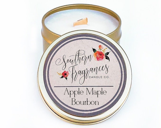 Featured listing image: Apple Maple Bourbon Soy Candle | 6oz Travel Tin