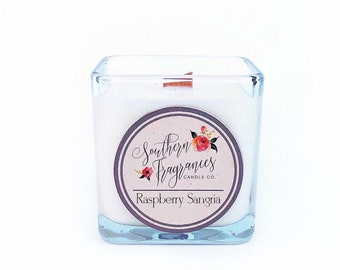 Raspberry Sangria Soy Candle | 12oz Soy Candle | Southern Fragrances | Handmade in NC | Wine Candle | Spring Candle | Wood Wick Candle