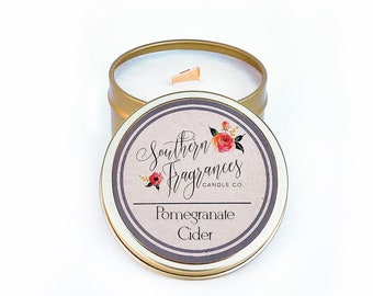 Pomegranate Cider Soy Candle | Wood Wick Candle | 6oz Travel Soy Candle