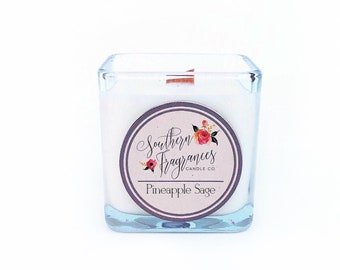 Pineapple Sage Soy Candle | 12oz Soy Candle | Southern Fragrances | Handmade in NC | Spring Candle | Wood Wick Candle