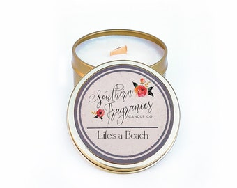 Life's a Beach Candle | 6oz Travel Size Soy Candle | Wood Wick Candle