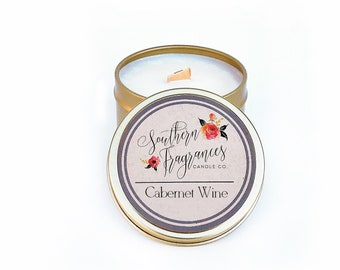 Cabernet Wine Soy Candle | Travel Tin Candle | Wood Wick Candle | Eco Friendly | All Natural Soy | Made in NC