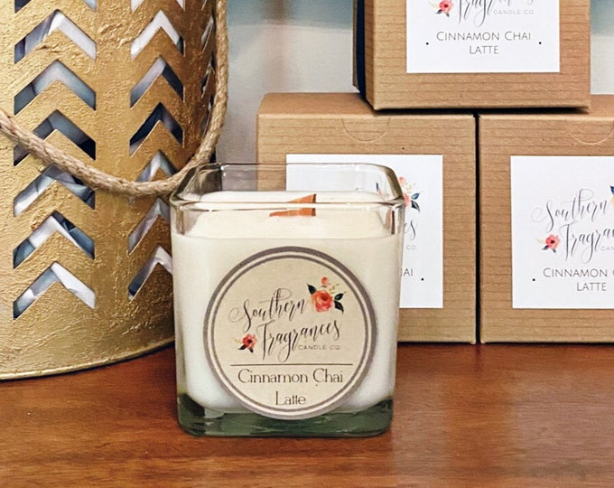 Featured listing image: Cinnamon Chai Latte Soy Candle | 12oz Glass Jar
