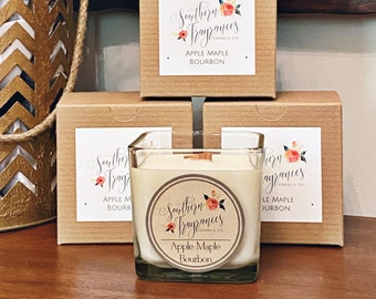 Apple Maple Bourbon Soy Candle | 12oz Glass Jar