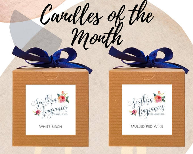 Featured listing image: Candles of the Month - November | White Birch Soy Candle | Mulled Red Wine Soy Candle | 12oz Glass Jar Candle  | Gift Set