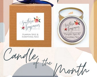 Candle of the Month - September | Pumpkin Spice & Everything Nice Wood Wick Soy Candle  | Fall Gift Set