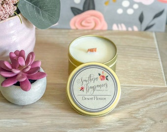 Desert Flower Wooden Wick Soy Candle | 6oz Luxe Gold Travel Tin