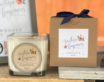 Grapefruit & Mint Wooden Wick Soy Candle | 12oz Candle
