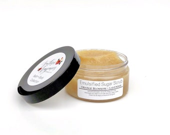 Emuslified Sugar Scrub | Orange Blossom + Lavender | Natural Exfoliant | Moisturizer | Essential Oils | Natural Soap