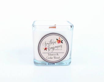 Tobacco and Cedar Wood Soy Candle, 12oz Soy Candle, Southern Fragrances, Handmade in NC, Wood Candle, Fall Candle, Man Candle
