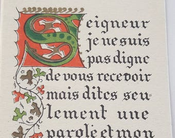 7 pces - Vintage French Holy Cards - Lord I am not worthy to receive you but only say the word...