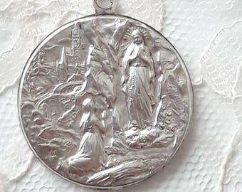 LOURDES Antique French Medal - Large Size