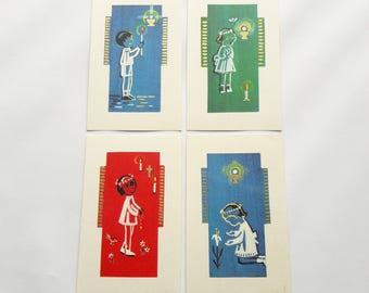80s - Set of 4 Vintage Holy Cards - Communion Souvenir - Printed in Belgium