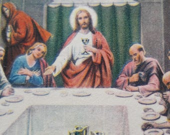 """1930-1940s """"The Last Supper"""" Antique Religious Card Holy Cards"""