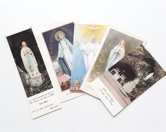LOURDES - 5 pces Antique French Holy Cards from Lourdes