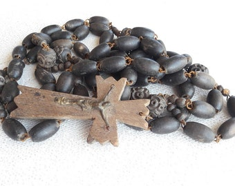 LOURDES - Vintage French Large Rosary - Wooden Beads - XXL Rosary