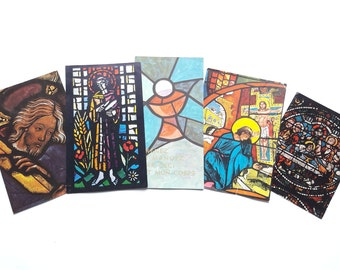 60s - Set of 5 Vintage French Holy Cards - First Mass Souvenir - Look alike Stained Glass Design