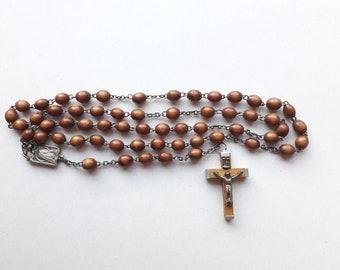 LOURDES Vintage Minimalist Rosary - Wooden Beads - INCOMPLETE