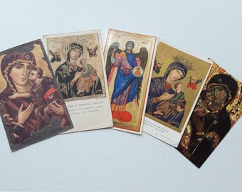 50 - 60s Set of 5 Vintage Holy Cards - Eleusa Virgin of Tenderness - Communion Souvenir