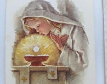 60s 70s Set of 8 Vintage Holy Cards - Communion Souvenir
